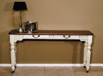 Casa Padrino Shabby Chic Konsolentisch Weiss / Holzfarben - Konsole Tisch Beistelltisch Landhaus Stil