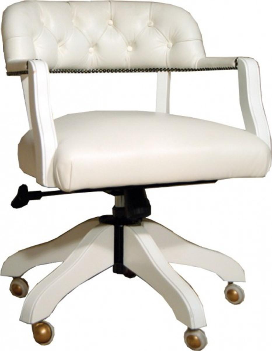 Padrino Stuhl Schreibtisch Casa Luxus Büro Echtleder Chefsessel Weiß Drehstuhl 5RjS4Lc3Aq