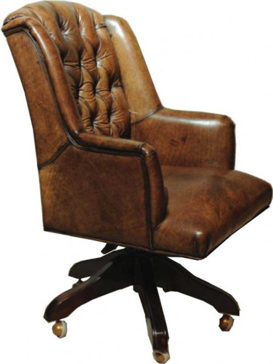 Casa Padrino Luxus Echtleder Chefsessel Büro Stuhl Braun Drehstuhl  Schreibtisch Stuhl   Chefbüro ...