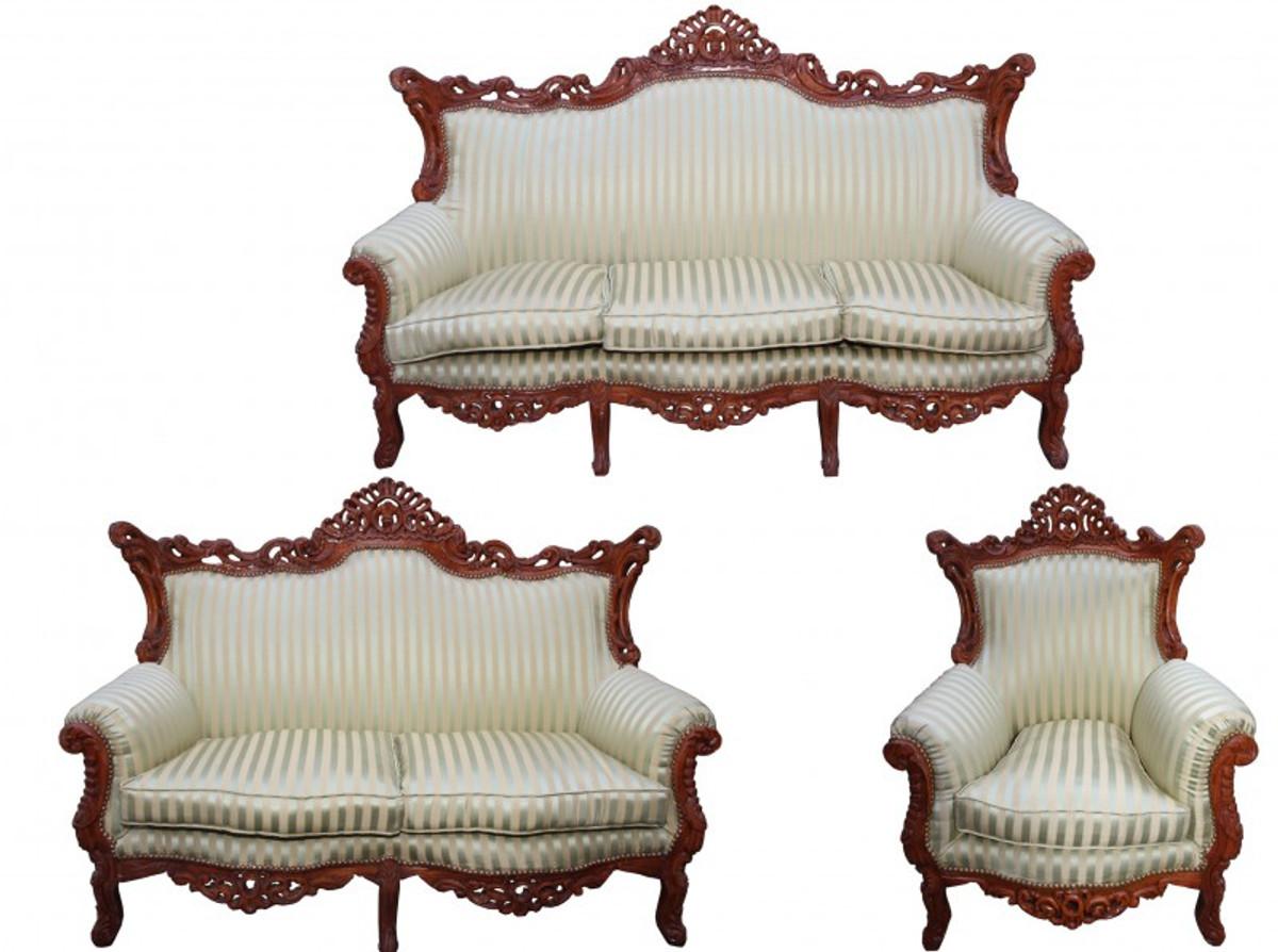 Casa Padrino Barock Wohnzimmer Set Jadegrün/braun - 3-er Sofa + 2 ... Mobel Braun Wohnzimmer