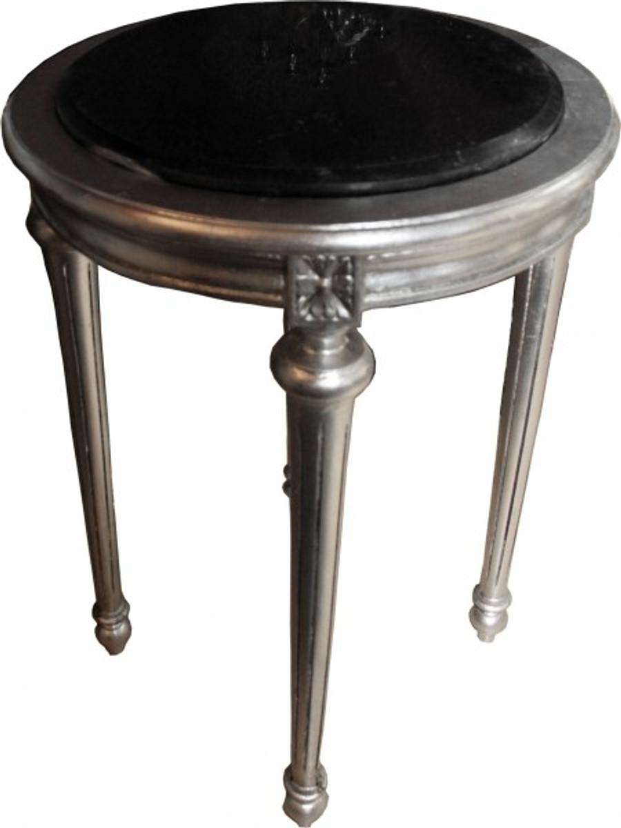 barock beistelltisch rund silber schwarz marmorplatte mody22 72 x 49 cm antik stil. Black Bedroom Furniture Sets. Home Design Ideas