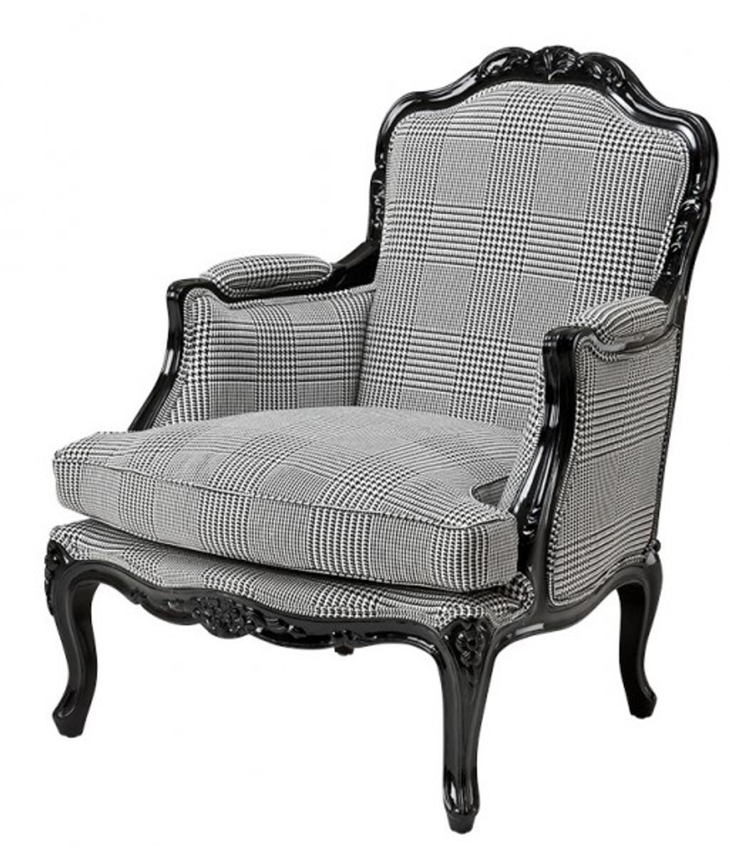 casa padrino luxus barock lounge sessel schwarz grau kariert hotel m bel dekoration sessel. Black Bedroom Furniture Sets. Home Design Ideas