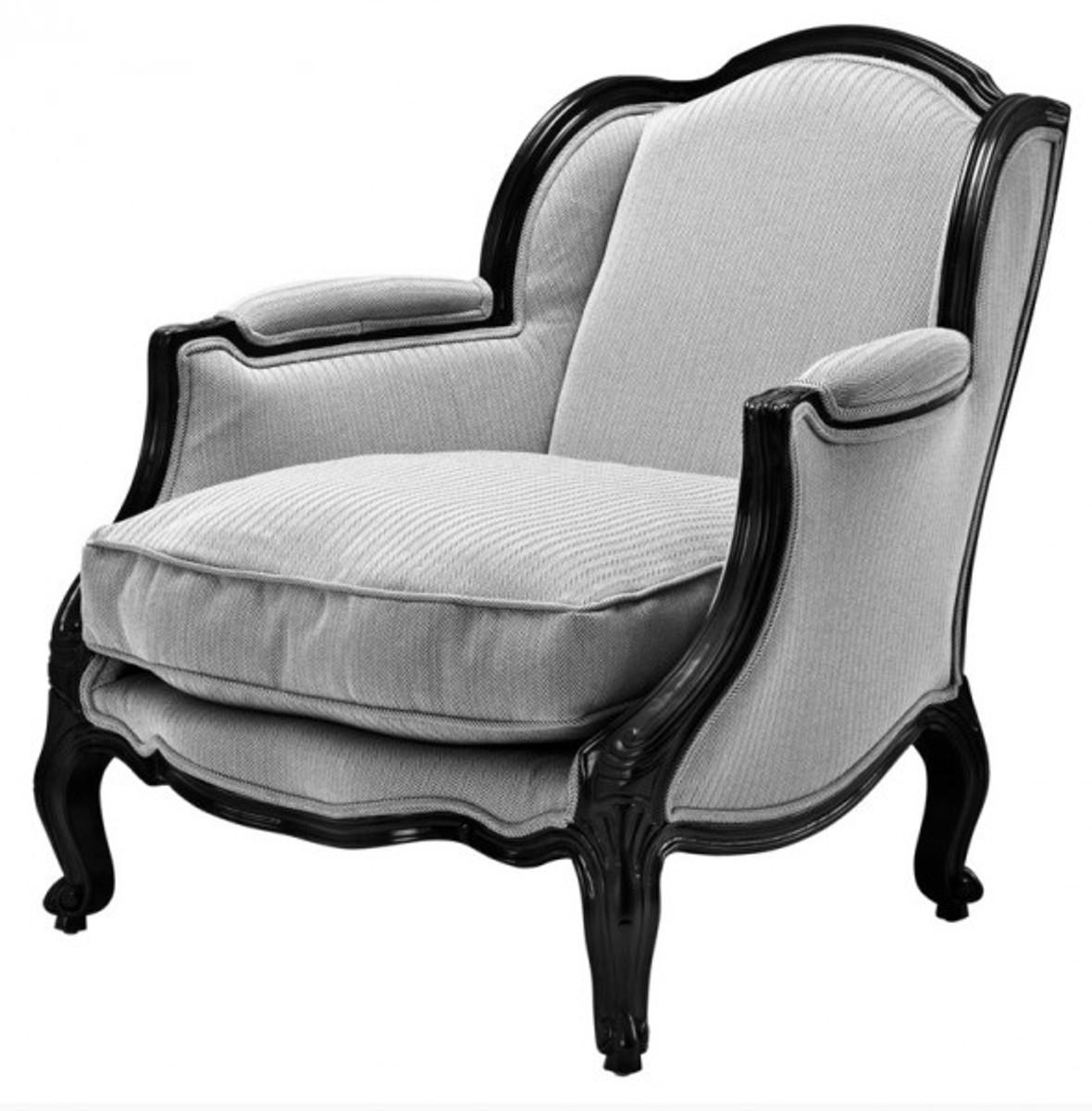 casa padrino luxus barock lounge sessel schwarz grau. Black Bedroom Furniture Sets. Home Design Ideas