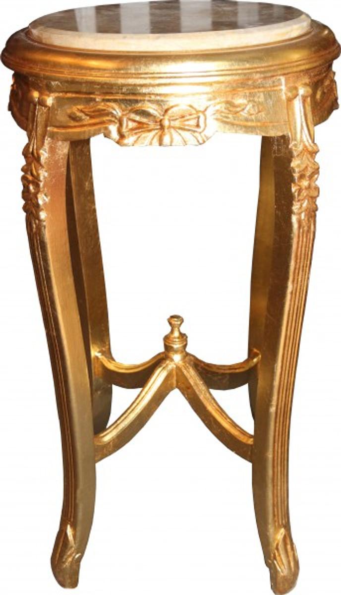 barock beistelltisch mit marmorplatte rund gold 70 x 40 cm antik stil beistelltische barock. Black Bedroom Furniture Sets. Home Design Ideas