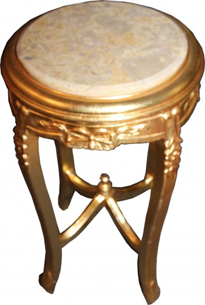 Barock beistelltisch mit marmorplatte rund gold 70 x 40 cm for Beistelltisch marmorplatte