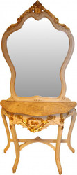 Casa Padrino Baroque mirror console with marble top cream / gold - antique look