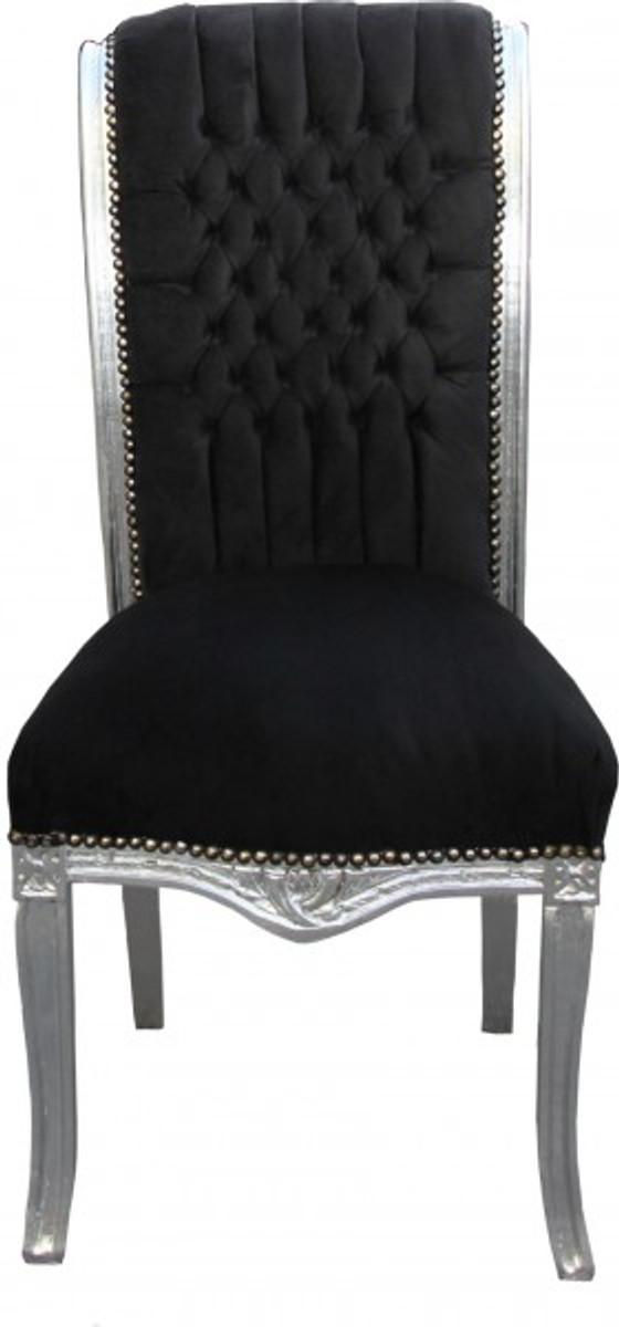 casa padrino barock hochlehner esszimmer stuhl schwarz silber hochlehnstuhl m bel st hle. Black Bedroom Furniture Sets. Home Design Ideas
