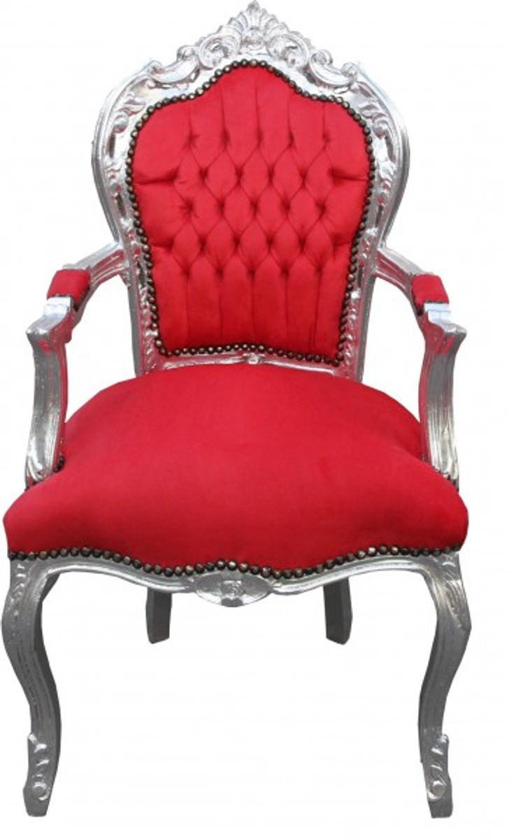 Casa padrino barock esszimmerstuhl rot silber mit for Esszimmerstuhl rot