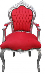 Casa Padrino Baroque Dinner Chair Red / Silver with armrest