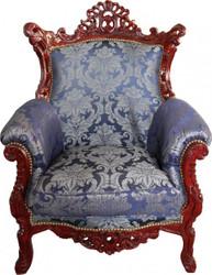 "Casa Padrino Barock Sessel ""Al Capone"" Mod2 Royalblau Muster / Braun Rot Möbel Antik Stil - Limited Edition"