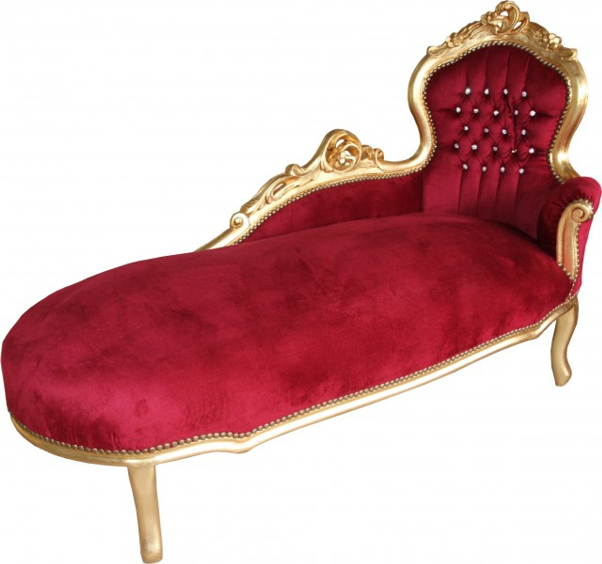 Casa padrino baroque chaise longue king bordeaux gold for Casa chaise longue