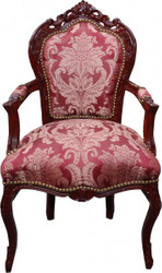 Casa Padrino Baroque Dinner Chair Pattern / Brownish red with armrests - Limited Edition