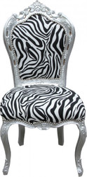 Casa Padrino Baroque Dinner Chair Zebra / Silver Mod2 - Furniture - Baroque Furniture