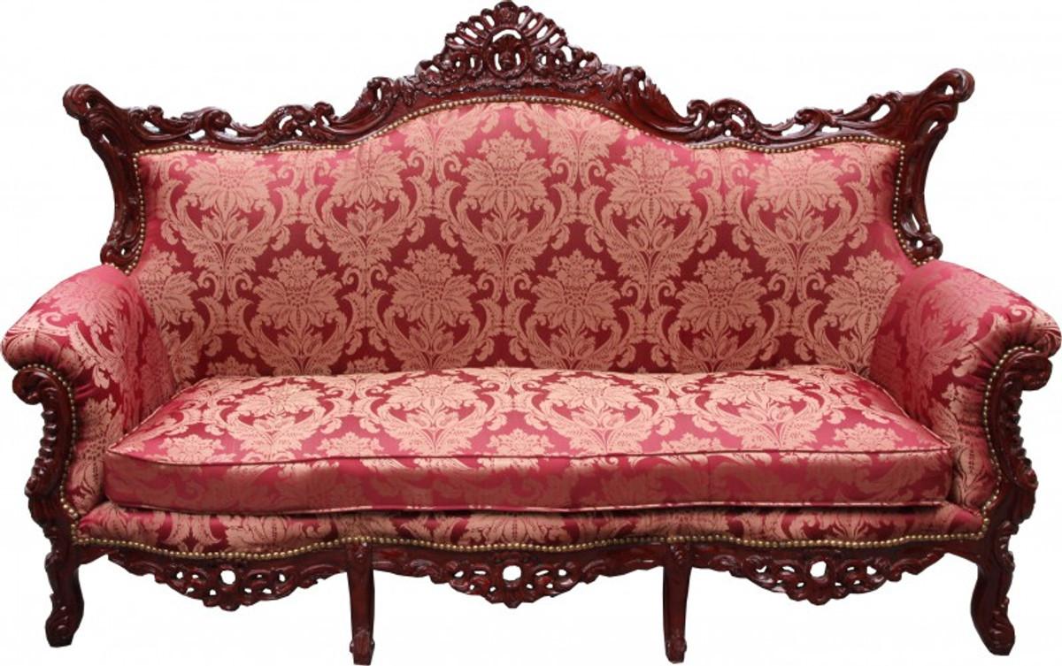 casa padrino barock wohnzimmer set bordeaux muster braunrot 3 er sofa 2 er sofa 1 sessel. Black Bedroom Furniture Sets. Home Design Ideas