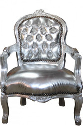 Casa Padrino Baroque highchair silver leather look / Silver - Armchair