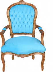 Casa Padrino Baroque Salon Chair Royal Blue Pattern / Gold - Furniture Lounge Hotel