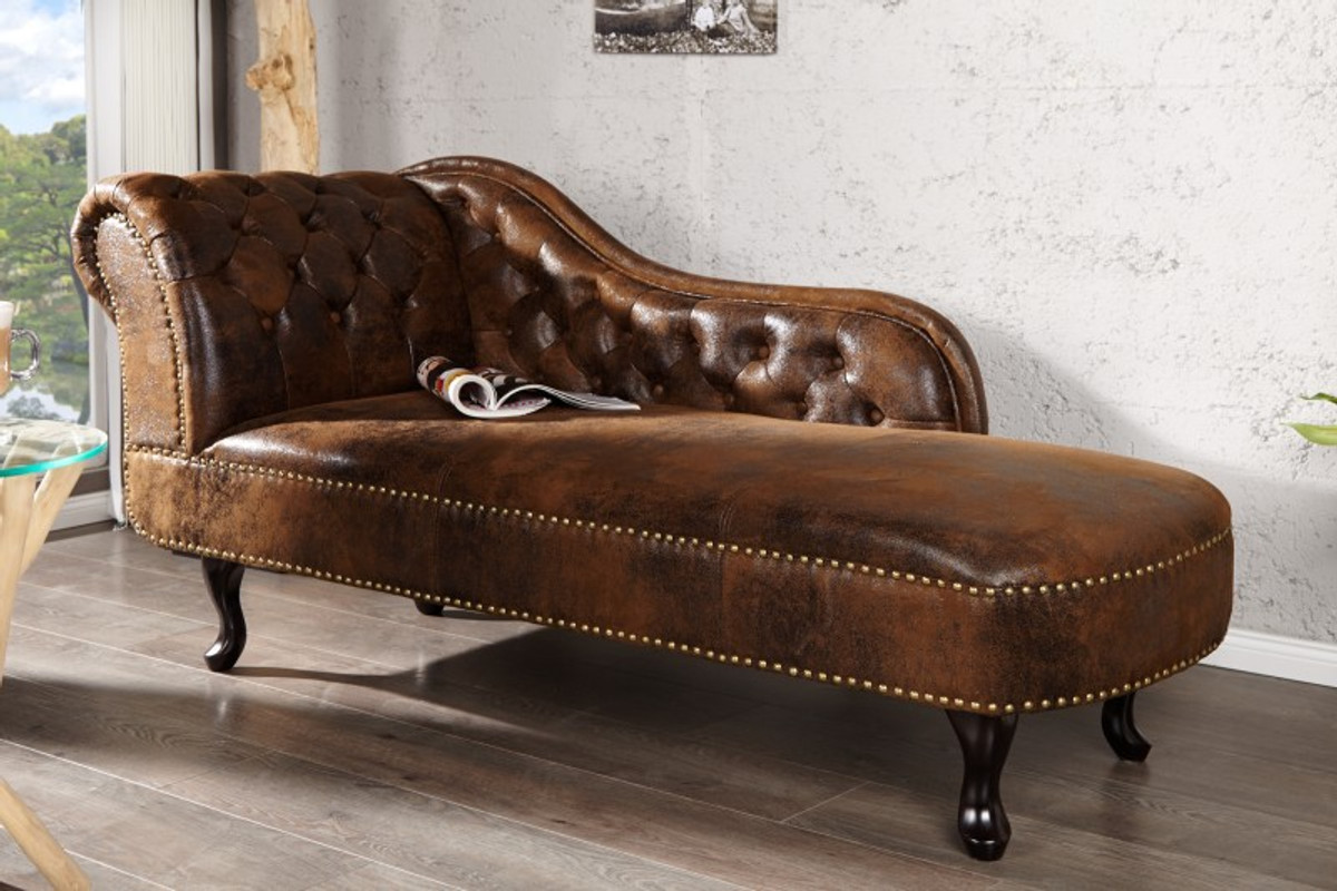Chesterfield chaise longue / lounge chair antique brown from the ...
