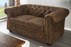 Chesterfield 2 seater antique brown from the house Casa Padrino - Living room furniture - Couch