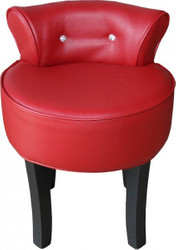 Casa Padrino Design stool Red / Black with Bling Bling stones - baroque dressing table chair