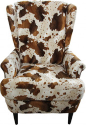 Casa Padrino luxury wing chairs cow pattern Brown / White - Chesterfield furniture