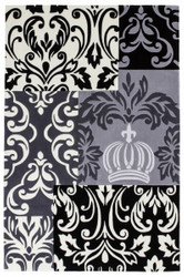 Harald Glööckler designer rug 80 x 150 cm black / white / grey - Baroque Design Carpet