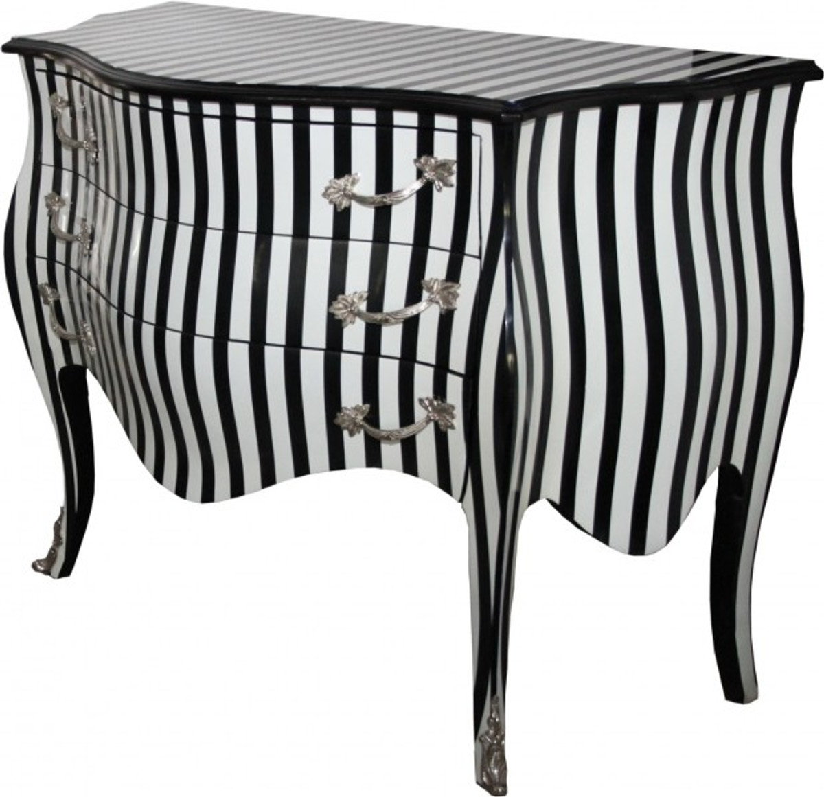 casa padrino baroque commode black white stripes 122 cm with silver metal applications. Black Bedroom Furniture Sets. Home Design Ideas