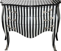 Casa Padrino Baroque Commode Black / White Stripes 122 cm with silver metal applications - antique style