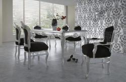 Casa Padrino Baroque Dinner Set Black / Silver / Silver - dining table + 6 chairs