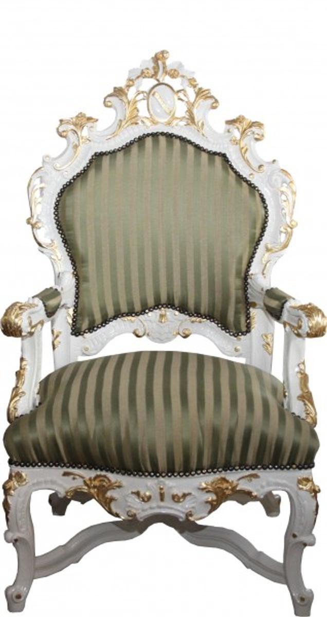 Casa Padrino Barock Luxus Thron Sessel Grün/Gold Streifen / Weiss/Gold - Unikat - Barock Möbel Thron Königssessel - Limited Edition 1