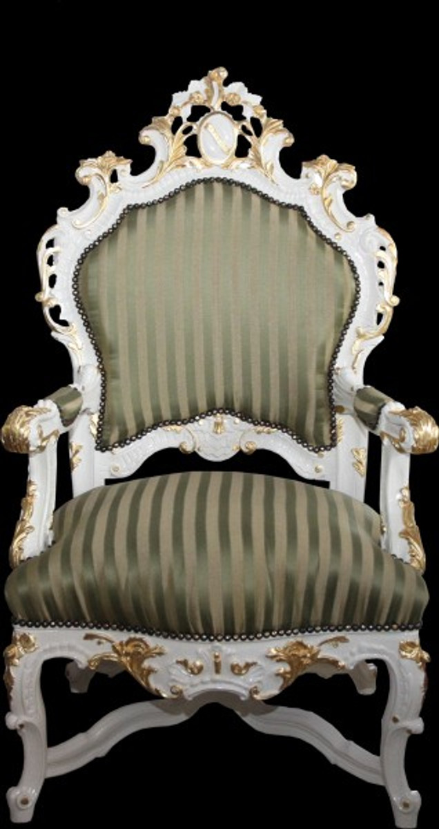 casa padrino barock luxus thron sessel gr n gold streifen weiss gold unikat barock m bel. Black Bedroom Furniture Sets. Home Design Ideas