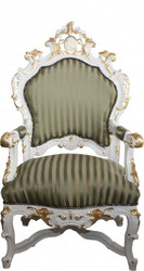 Casa Padrino Baroque luxury throne chair green / gold stripes / white / gold - unique - Baroque furniture throne King armchair - Limited Edition