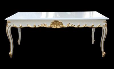 Casa Padrino Barock Couchtisch Weißgold 120 X 60 Cm Mod2 Antik