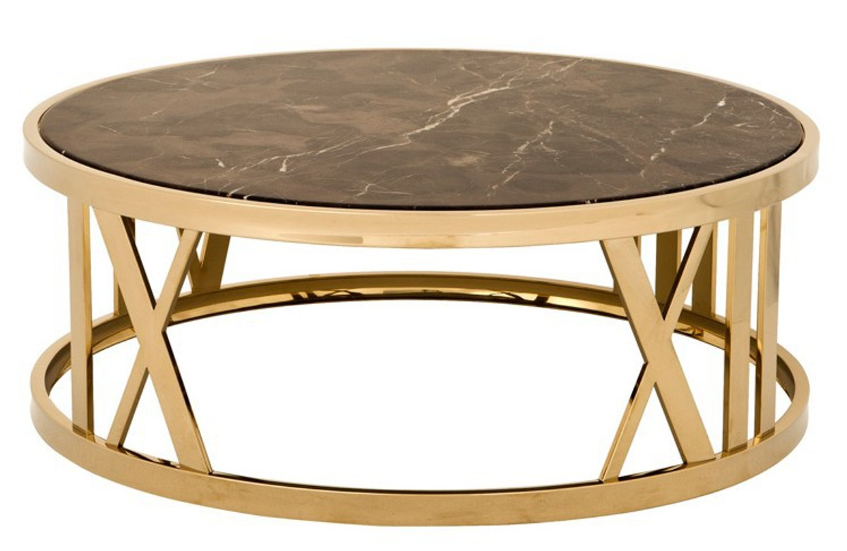 - Casa Padrino Luxury Art Deco Coffee Table Round Gold With Marble