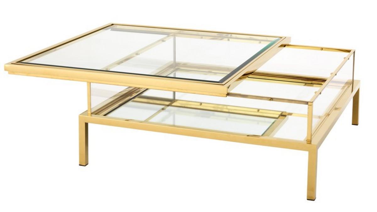 Casa Padrino Luxus Art Deco Designer Couchtisch Edelstahl Vergoldet