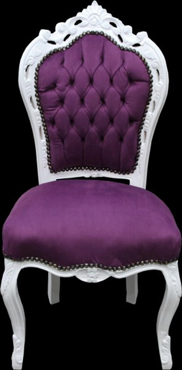 Casa Padrino Barock Esszimmer Stuhl Lila/Weiß   Antik Stil ...