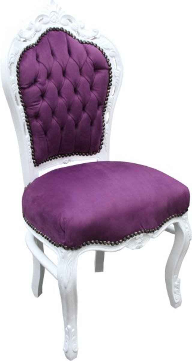 Casa Padrino Barock Esszimmer Stuhl Lila Weiss Antik Stil Stuhle
