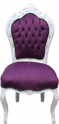 Casa Padrino Baroque Dinner Chair Purple / White - Antique style