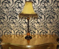 Baroque Stool lamp with nostalgic shade, height 69 cm, diameter 32 cm - light lamp