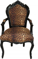 Casa Padrino Baroque Dinner Chair Leopard / Black with armrest