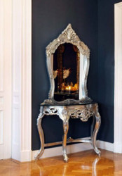Baroque Console with Mirror Silver