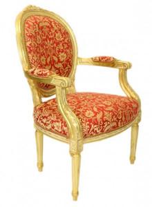 Casa Padrino luxury Baroque Medallion Salon Chair Bordeaux pattern Gold / Gold - Antique style furniture – Bild 2