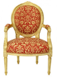 Casa Padrino luxury Baroque Medallion Salon Chair Bordeaux pattern Gold / Gold - Antique style furniture