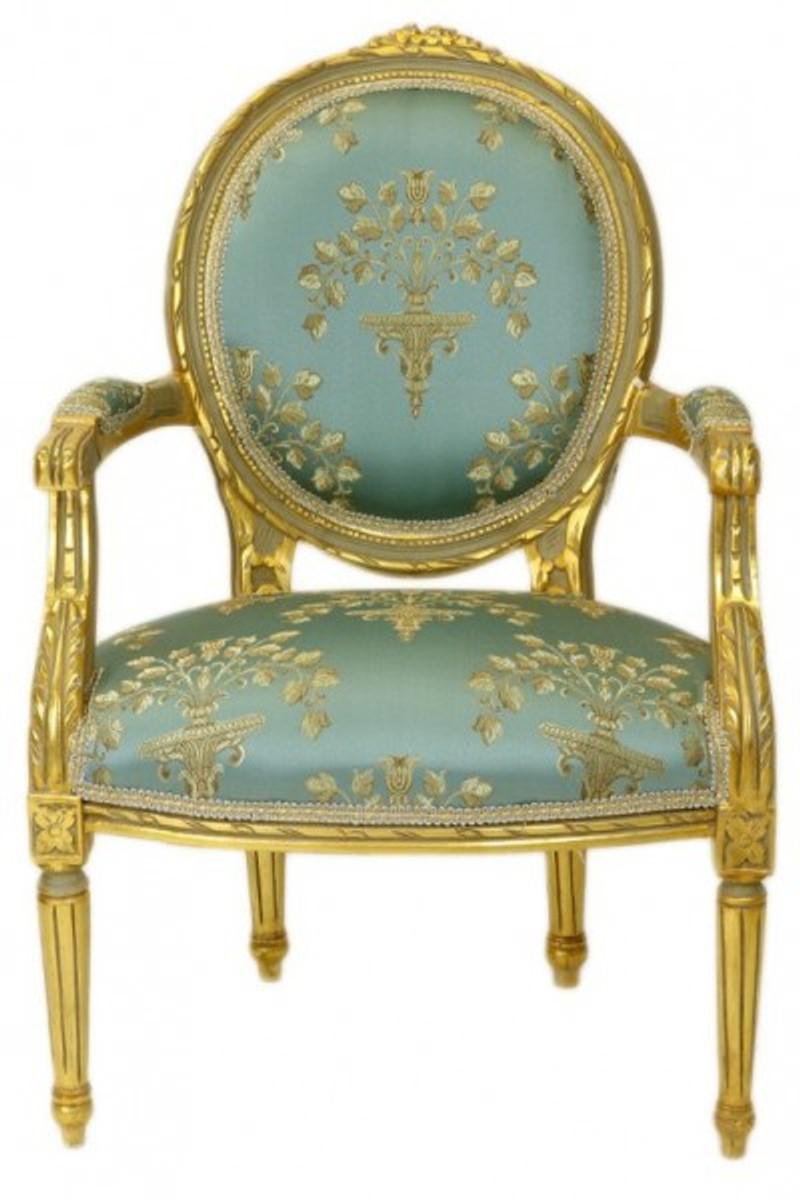 Gut Casa Padrino Luxus Barock Medaillon Salon Stuhl Türkis Muster / Gold Modell  Versailles   Möbel Antik Stil