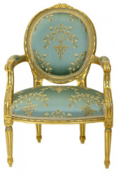 Casa Padrino luxury Baroque Medallion Salon chair Turquoise Pattern / Gold Model Versailles - Antique style furniture