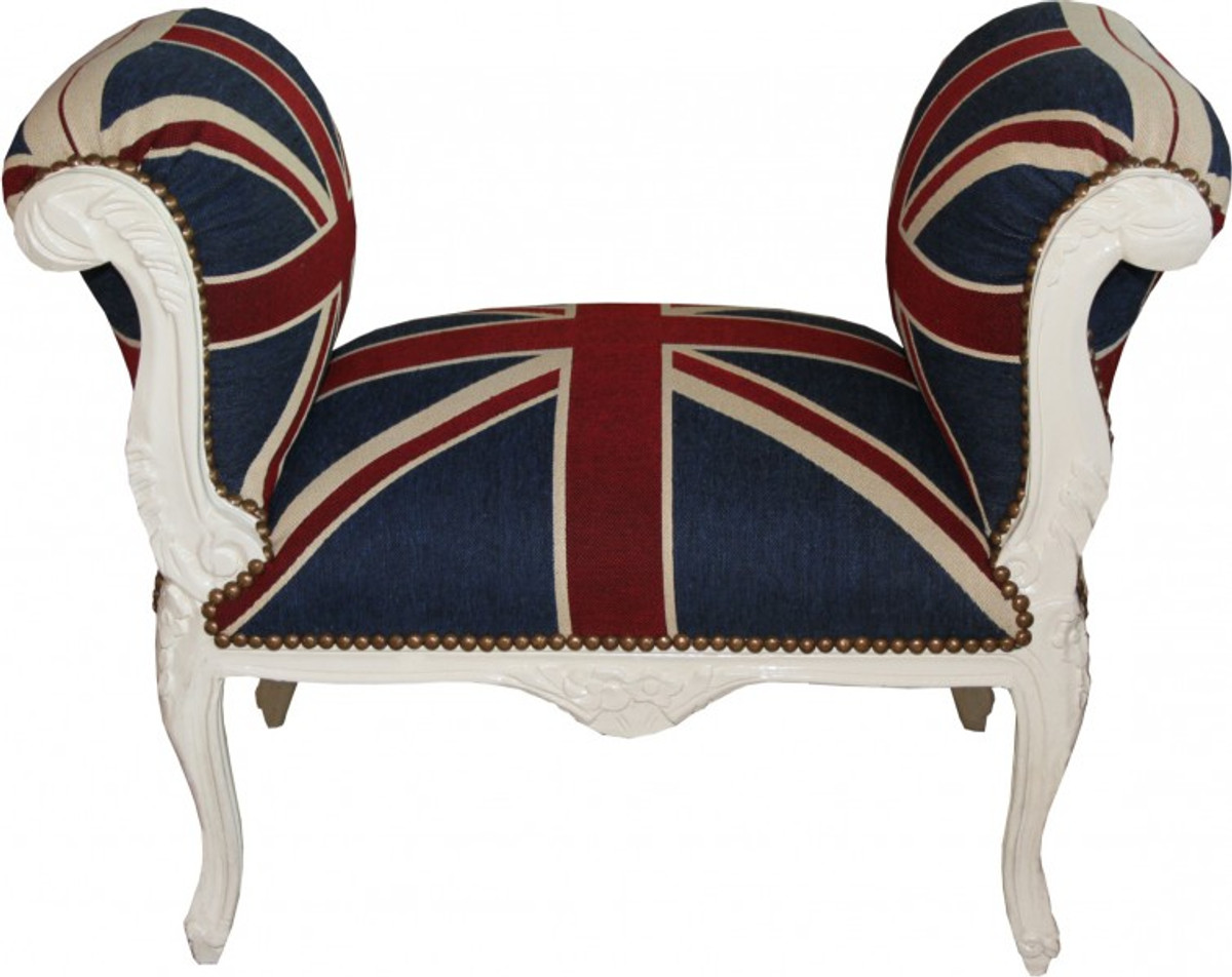 Casa padrino barock schemel hocker union jack creme for Sessel union jack