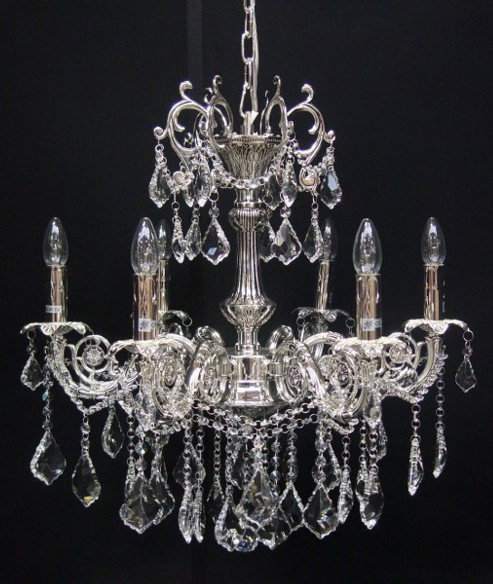 Casa padrino barock kristall kronleuchter 6 flammig silber h ngeleuchte l ster h ngelampe - Kronleuchter barock ...