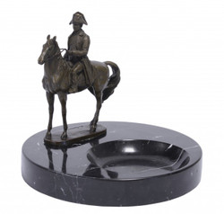 Casa Padrino luxury Art Nouveau marble ashtray with bronze statue of Napoleon on horseback Mod-X4
