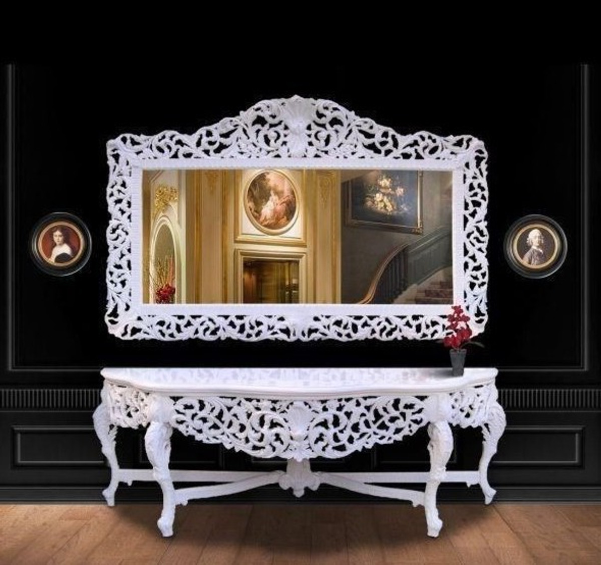 riesige casa padrino barock spiegelkonsole wei mit wei er marmorplatte luxus wohnzimmer m bel. Black Bedroom Furniture Sets. Home Design Ideas