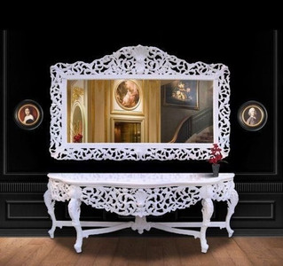 Huge Casa Padrino baroque mirror console white with white marble top - luxury living room furniture console Sppiegel Huge Casa Padrino baroque mirror console Gold with black marble top - luxury living room furniture console Sppiegel – Bild