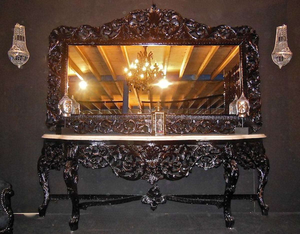 riesige casa padrino barock spiegelkonsole schwarz mit weisser marmorplatte luxus wohnzimmer mobel konsole mit spiegel spiegel barock spiegel barock